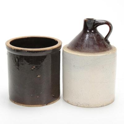 Brownware Jug and Crock