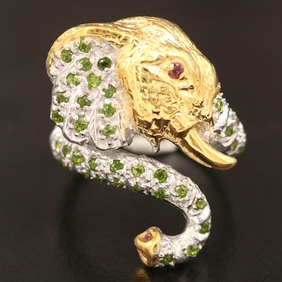 Sterling Silver Diopside, Sapphire and Garnet Elephant Wrap Ring