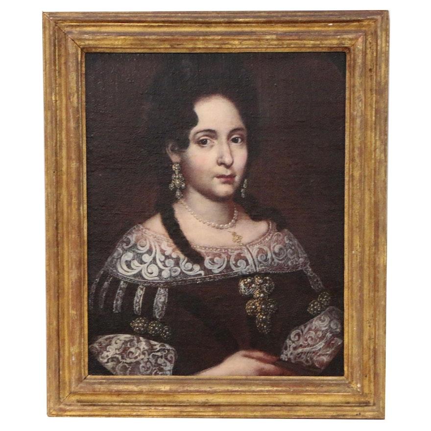 Italian School Style Oil Portrait of Noblewoman, Possibly Anna de' Medici
