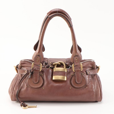 Chloé Paddington Satchel in Brown Pebbled Leather