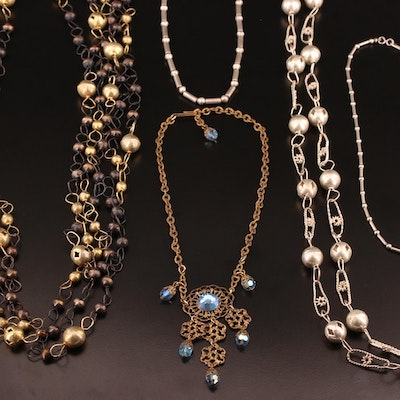 Vintage Assortment of Necklaces Including Sterling Silver Beaded Necklaces