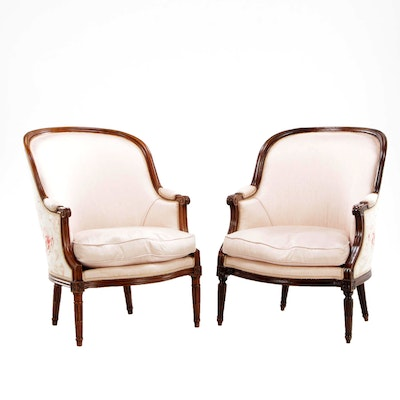 Pair of Louis XVI Style Walnut Upholstered Bergeres