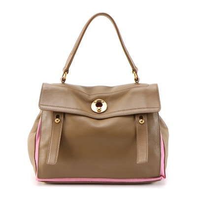 Yves Saint Laurent Brown Grained Leather and Pink Canvas Handbag