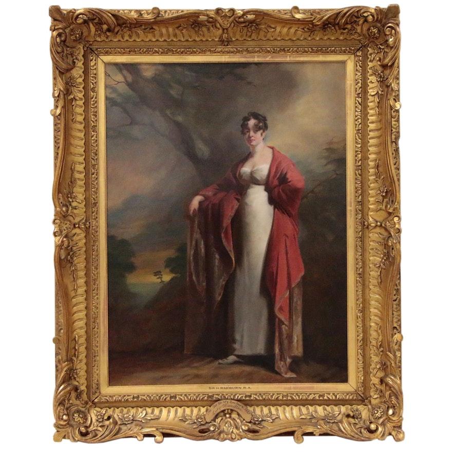 Oil Portrait after Sir Henry Raeburn of Lady Hamilton, 19th Century