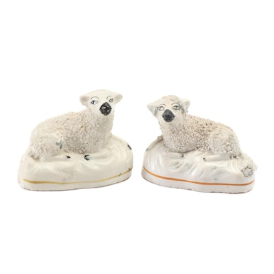 Pair of English Staffordshire Ceramic Recumbent Lambs, Late 19th Century