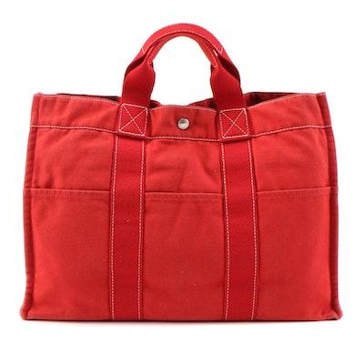 Hermès Fourre Tout Red Canvas Tote Bag