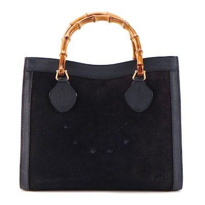 Gucci Bamboo Navy Suede and Textured Leather Handbag