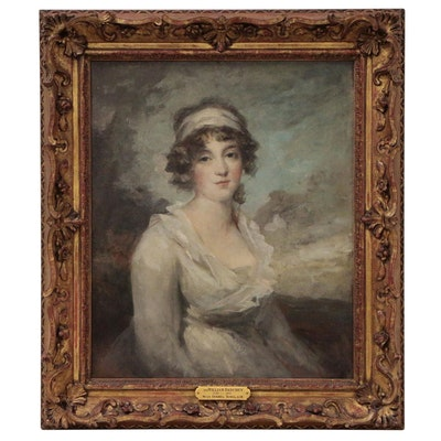 Half-Length Oil Portrait of Late Georgian Lady, Circle of Sir Henry Raeburn