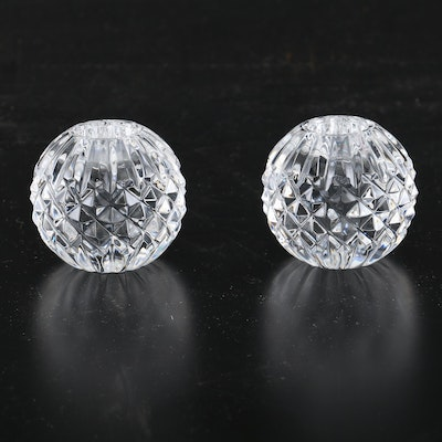 "Waterford Cut Crystal Globe ""Lismore"" Candle Holders"