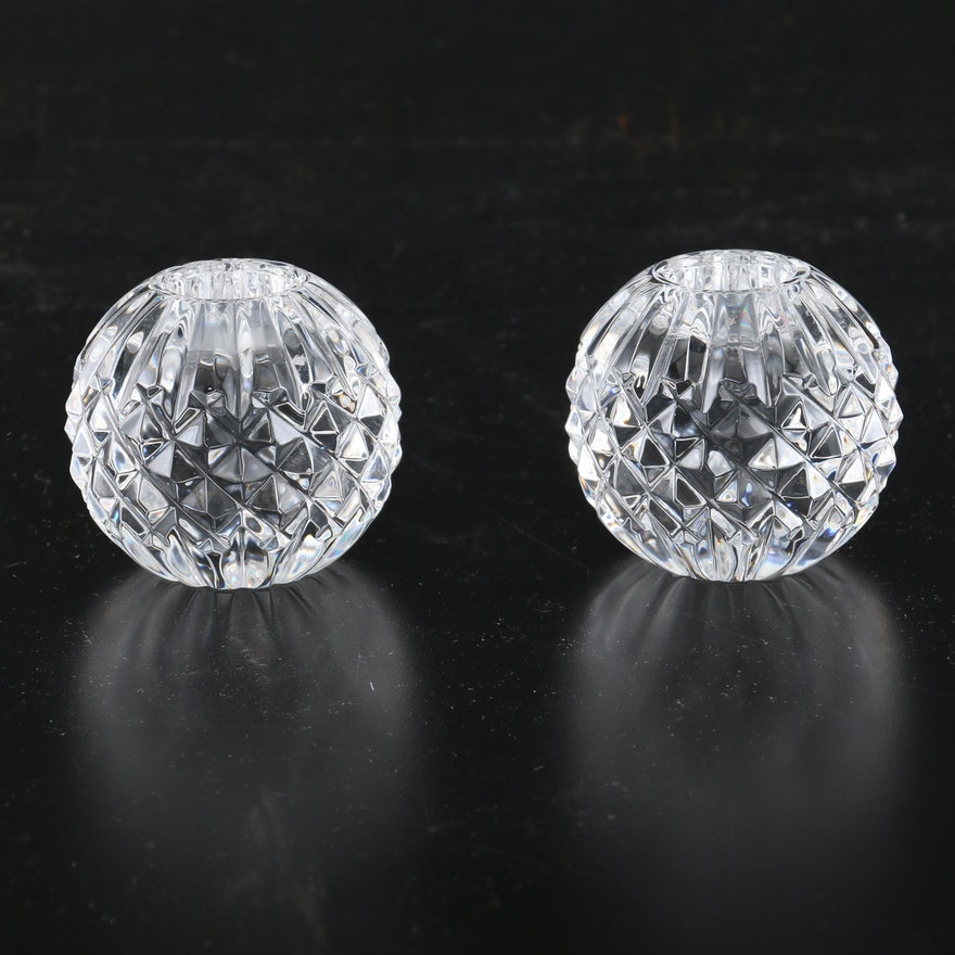 """Waterford Cut Crystal Globe """"Lismore"""" Candle Holders"""