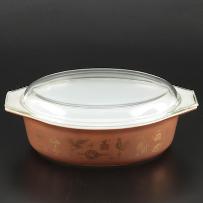 "Pyrex ""Early American"" Oval Casserole Dish, 1962–1971"