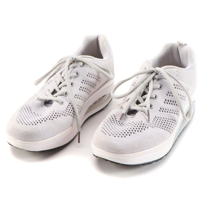 Women's Gray/White Lace-Up Sneakers