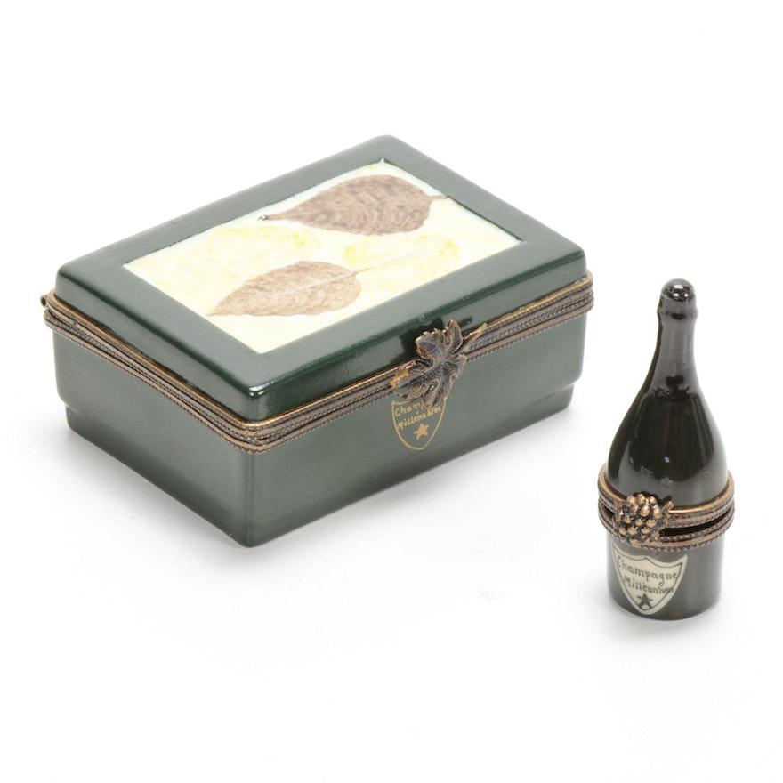 Hand-Painted Porcelain Cased Champagne Bottle Limoges Box