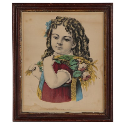 "Currier & Ives Hand-Colored Lithograph ""Little Daisy"", Mid 19th Century"