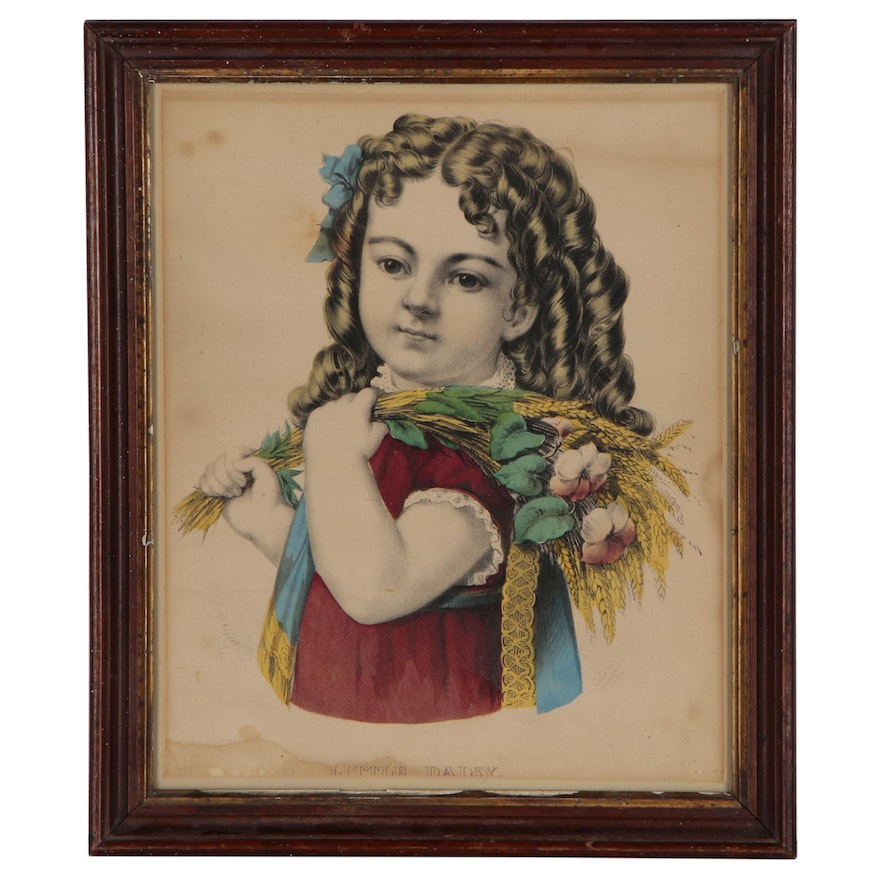 """Currier & Ives Hand-Colored Lithograph """"Little Daisy"""", Mid 19th Century"""