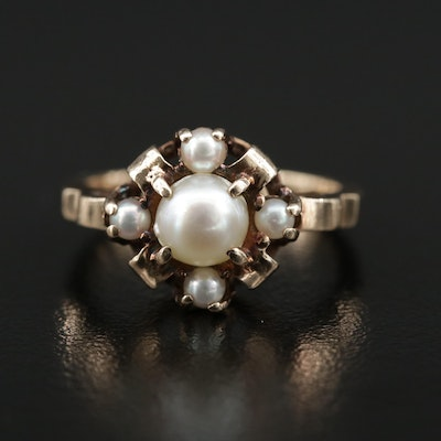 Early 1900s 10K Pearl Crown Motif Ring