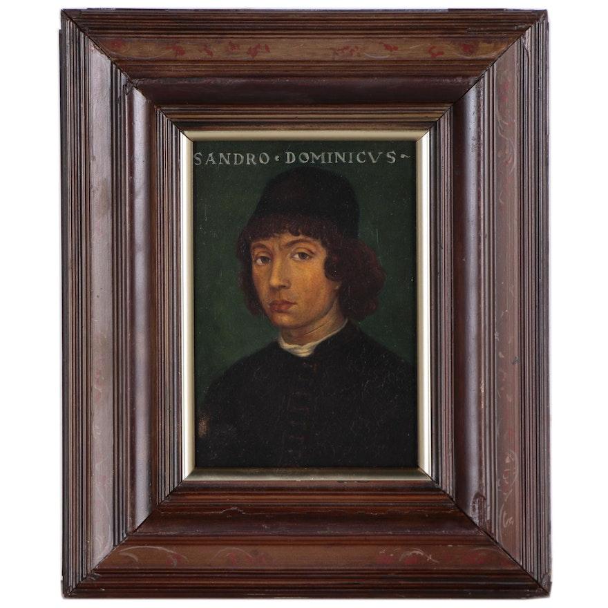 Italian Renaissance Style Portrait Oil Painting in the Manner of Filippino Lippi