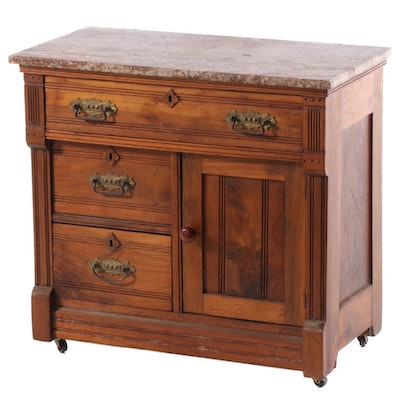 Victorian Marble Top Walnut Washstand, Late 19th Century