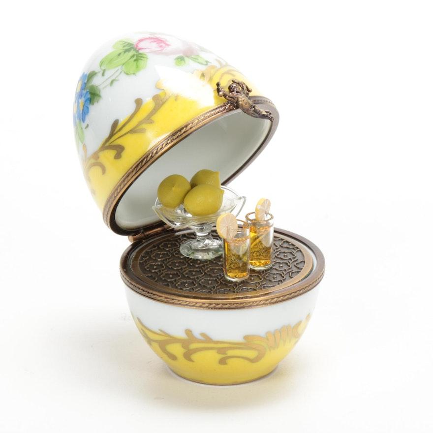 La Gloriette Hand-Painted Porcelain Egg Shaped Lemonade Bar Limoges Box