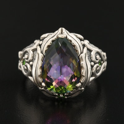 Sterling Silver Mystic Quartz and Diopside Heart Ring