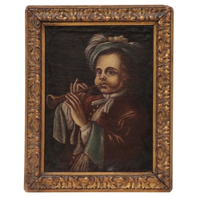 Renaissance Style Oil Painting of Trumpet Player, Late 19th Century