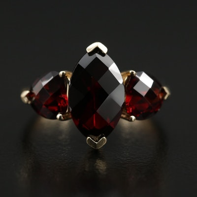 10K Garnet Ring Featuring Marquise and Heart Cuts