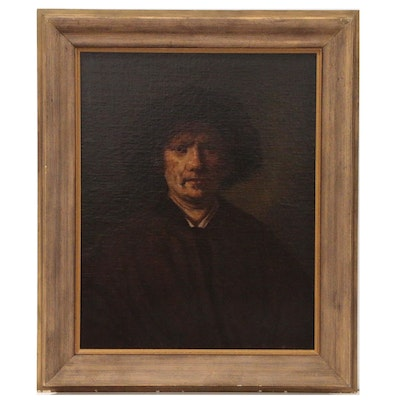 "J. Eckelo Oil Painting after Rembrandt ""Self Portrait"", 1819"