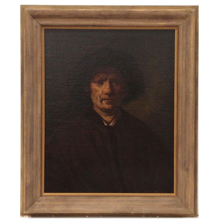 "J. Eckelo Oil Painting after Rembrandt ""Self Portrait"", 1819"