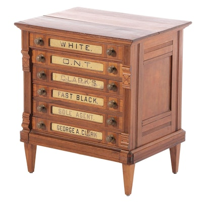 George A. Clark Victorian Walnut Thread Chest with Eglomise Panels