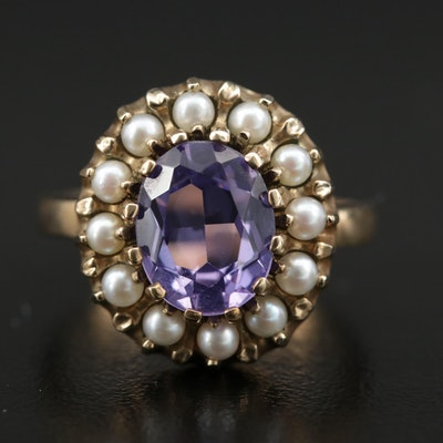10K Sapphire and Pearl Ring