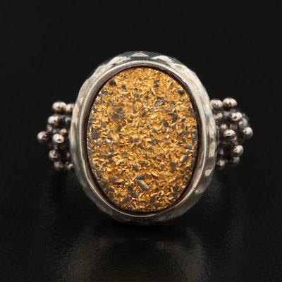 Michael Dawkins Sterling Gold Druzy Ring
