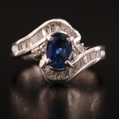 Platinum 1.10 CT Sapphire and Diamond Ring