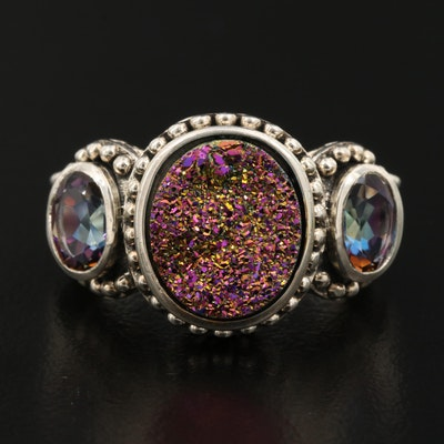 Sterling Silver Druzy and Mystic Quartz Ring