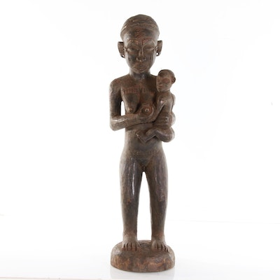 Central African Carved Wood Maternity Figure