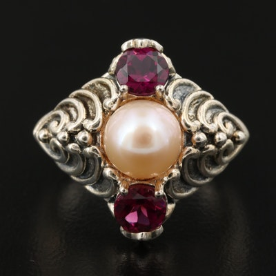 Sterling Garnet and Cultured Pearl Waved Heart Ring
