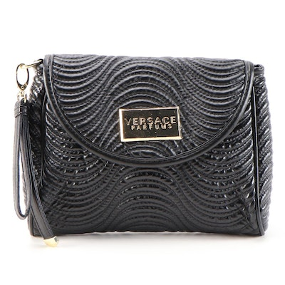 Versace Parfums Black Quilted Faux Leather Wristlet