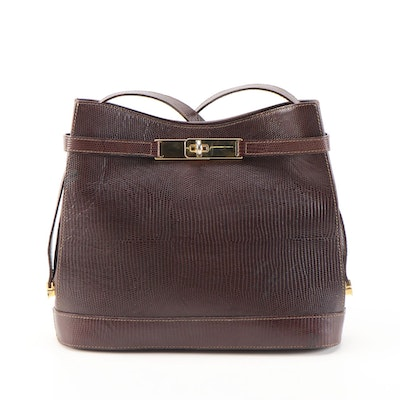 Francesco Biasia Lizard Embossed Mahogany Brown Leather Shoulder Bag