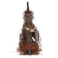 Central African Lulua Carved Wood Guardian Figure