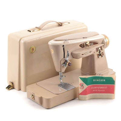 Singer 503A Slant-O-Matic Sewing Machine with Case, Mid-20th Century