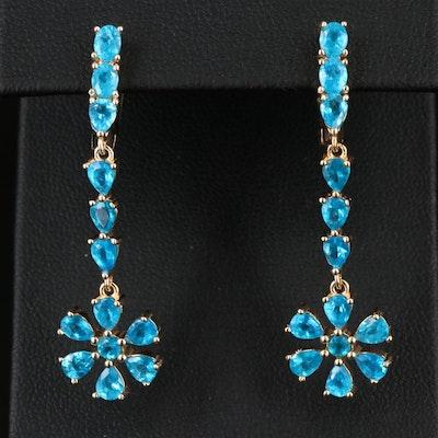 Sterling Silver Apatite Flower Dangle Earrings