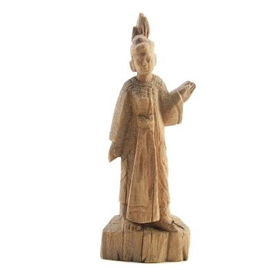 Burmese Hand Carved Teak Wood Figure Sculpture, 19th Century