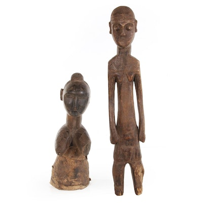 Baga Nimba Wood Shoulder Mask and Central African Wood Male Figure