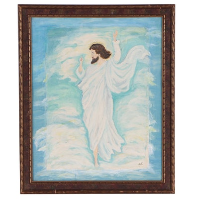 Acrylic Painting of Christ in the Clouds