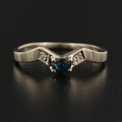 14K Sapphrie and Diamond Chevron Ring