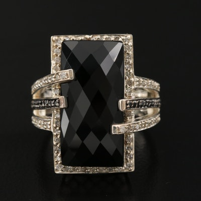 Sterling Silver Black Onyx, Diamond and Black Diamond Ring