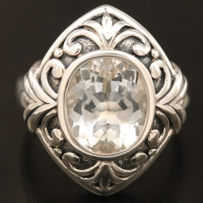Sterling Silver Topaz Scroll Motif Ring