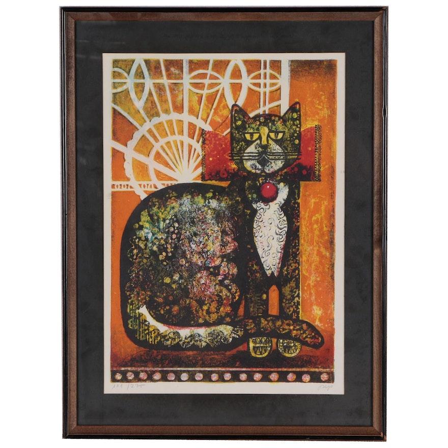 Jose Puig Marti Lithograph of Cat
