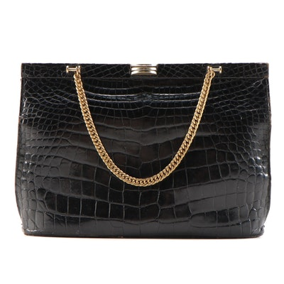 Saks Fifth Avenue Black Crocodile Handbag with Chain Strap, Mid-20th Century