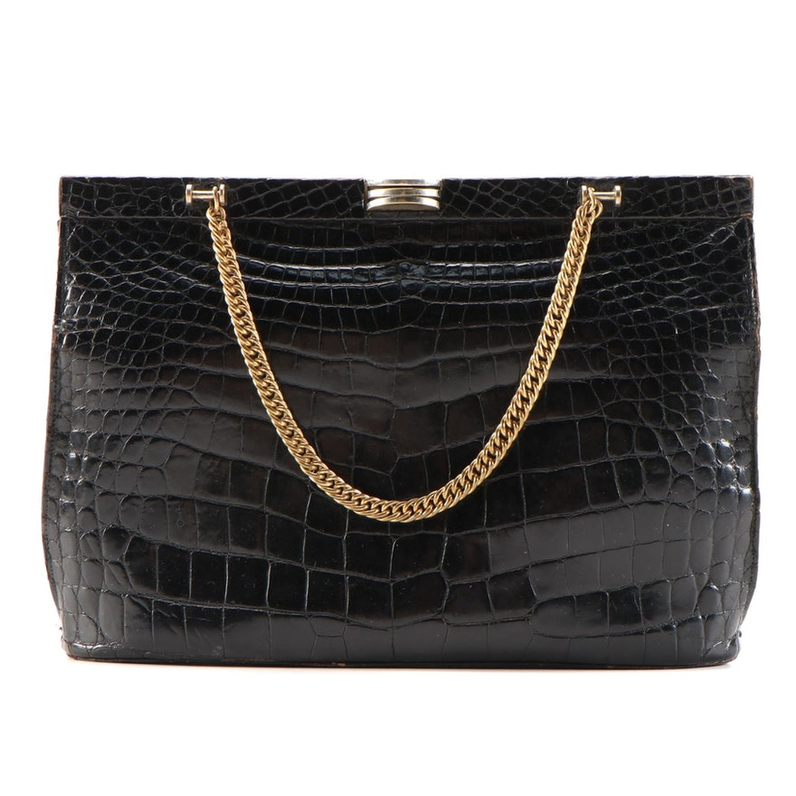 Saks Fifth Avenue Black Crocodile Handbag with Chain Strap, Mid-20th Century