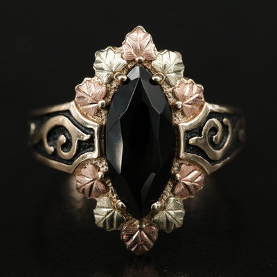 Black Hills Gold 10K Onyx Foliate Motif Ring with Rose and Green Gold Accents